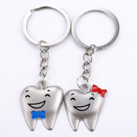 Wholesale Keychains Character - Wholesale Cartoon Teeth Keychain Dentist Decoration Key Chains Stainless Steel Tooth Model Dental Clinic Gift