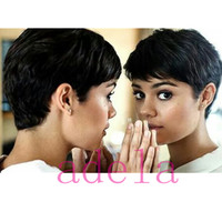 Wholesale Cheap Celebrity Lace Wigs - African American Pixie Short Wigs Brazilian Human Hair Wigs Celebrity Cheap Pixie Cut Very Short Wig Natural Black Human None Lace