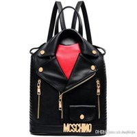 Wholesale leather punk jackets men - New Design Backpack High Quality Men Women PU Leather Jacket Bags Clothing Shoulder Bag Day Clutch Purse Bags Motorcycle Punk