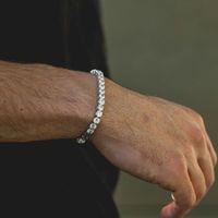 bijoux silber groihandel-fashioh kristall tennis armband zirkon perlen männer armband armband ketten strang armbänder für frauen pulseiras bijoux silber tennis armband