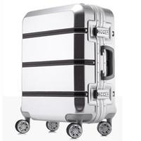chariot à valises 24 pouces achat en gros de-20/24/28 pouces spinner ABS PC PU épissure roulement à bagages sac Hardside cabine valise trolley valise cadre en aluminium brossé boîte de voyage