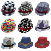 jungs jazz hüte großhandel-Kinder Jazz Caps 21 Design Fedora Trilby Hut Mode Unisex Casual Hüte Jungen Mädchen Kinder Caps Kinder Zubehör Hüte