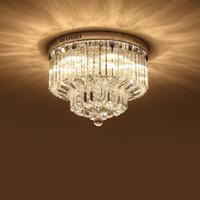 Wholesale flush chrome ceiling lights for sale - Modern K9 Crystal Chandelier Lighting Flush mount LED Ceiling Light Fixture Pendant Lamp for Dining Room Bathroom Bedroom Livingroom