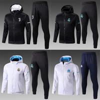Wholesale Cap Shirt Men - newest real madrid jacket 2017 2018 AC milan men soccer Hooded jacket 17 18 POGBA LUKAKU DYBALA HIGUAIN tracksuit jacket kits cap shirt