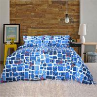 ingrosso set di biancheria plaid blu-100% Coon Reattivo Tintura Blu Plaid Plaid Stripes Paern Copripiumino Federa Moda Boy Room Bedding 3pcs Set