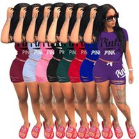 Wholesale wholesale black basketball shorts - Pink Letter Women Outfit Summer Tracksuit Love Pink Short Sleeve T Shirt Tops + Shorts Short Pants 2PCS Set Bodycon Sport Suit Clothes