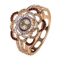 Wholesale flower bangle watches for sale - Luxury brand Womens Flower Band Hollow Out Bangle Crystal Quartz Bracelet Watch Jewelry Charm relogio feminino