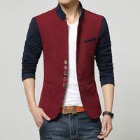 çince kıyafet boyutları toptan satış-Bahar Blazer Erkekler Çin Yaka Suit Erkek Yaz Blazer Hommes Rahat Ceket Moda Patchwork Marka Giyim Veste Homme Artı Boyutu M-3XL