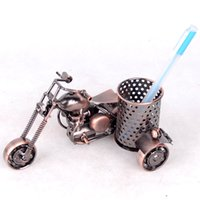 Wholesale brush ornaments - Mettle New Arrival Old Style Motorcycle Model Metal Crafts Iron Brush Pot For Promotion Gift