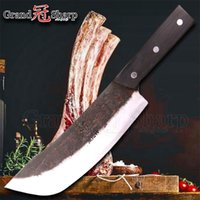 Wholesale chinese cooking tools resale online - 8 Inch Chef Cleaver Knife Chopper Slicing Cooking Tools Handmade Kitchen Chef Knives Traditional Chinese Style Pro Sharp Slaughter Knife
