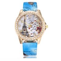 relógio de cristal da torre eiffel venda por atacado-Atacado Coração Amoroso Torre Eiffel Relógios De Couro De Luxo Vestido Relógio de Moda Casual Relógio De Pulso De Cristal De Strass Relógio De Quartzo De Cristal