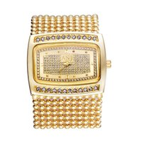 Wholesale women chain wrist watches - Lady Women Watch Crystal Dial Watches Rectangle Alloy Beads Chain Band Bracelet Watch Analog Quartz Wrist Watches Gifts LL@17