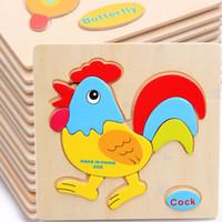 bebek hayvanlar çizgi film resimleri toptan satış-Güvenli Cretive Eğitici Oyunlar Resim Bulmacalar Oyuncaklar Çocuk Hediyeler Için Karikatür Hayvanlar Ahşap Bulmaca Bebek juguetes educativos