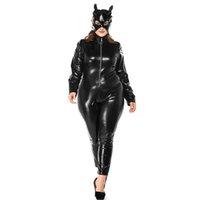 zíper de máscara de couro preto venda por atacado-Plus Size Halloween Catwoman Traje Sexy Preto Faux Leather Catsuit Frente Zíper Estiramento Macacão Patry Cosplay Bodysuit Com Máscara
