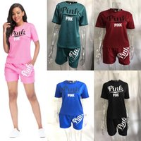 Wholesale gym clothes womens l - Fashion PINK Style Womens Tracksuits Jogger Girls Summer Outfits Outdoor Short Sleeve Shirt+Shorts Pants Ladies Running Gym Clothes
