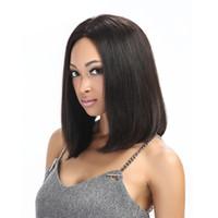 lange haare schneiden großhandel-Kurz geschnittenes menschliches Haar Spitze Front Bob Perücken für schwarze Frauen gerade geschnitten lange Bob Perücke volle Spitze Lob