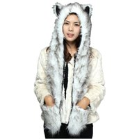 guantes de piel sintética al por mayor-DOUBCHOW Cute Faux Fur Panda Lobo Polar Bear Pattern Animal Sombreros con Paws Gloves para mujer Mens Teenagers Winter Fleece Beanie
