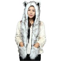 wolf beanie hut großhandel-DOUBCHOW Cute Faux Pelz Panda Wolf Eisbär Muster Tier Hüte mit Pfoten Handschuhe für Frauen Mens Teenager Winter Fleece Beanie
