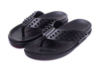 Wholesale home slipper men - New men's summer flat sandals fashion home flip-flops CLRED men's beach shoes high quality leather casual shoes 39-46 free shipping.