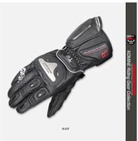 Wholesale titanium motorcycle gloves resale online - For GK169 Komine motorcycle drop resistance gloves genuine leather titanium alloy long design ride gloves