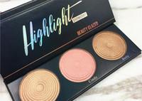 paleta de bálsamo venda por atacado-Paleta de bálsamo highlighter shimmer Eyeshadow Powder 3 cores Paleta de beleza envidraçada de alta qualidade frete grátis