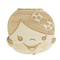 Wholesale baby gifts for girls - Baby Teeth wooden Storage Box Girls Boys Image Kids Tooth Save Wool Box Creative Gifts for Children Trave Kit English Spanish Version