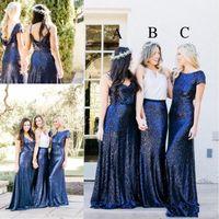 schöne royal blaue brautjungfer kleider großhandel-Neueste Schöne Pailletten Brautjungfernkleider Königsblau Zwei Stücke Mix and Match Landhausstil Trauzeugin Kleid Party Kleider