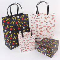 çanta hediye paketi kağıdı toptan satış-Taze Meyve Hediye Çantası Perçin Çanta Hediye Çanta Kağıt Halat Ambalaj Çanta Toptan Özelleştirilmiş Sunar