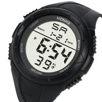 мужские цифровые часы lcd оптовых-Mens LCD Digital Watches Men Boys Life Waterproof Rubber Sport Stopwatch Date Clock Wrist Watch Male Hours Relogio #LH
