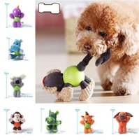 Wholesale dog plush squeak toy - Squeaky Dog Toys with Rubber Ball Body Pet Training Biting Squeak Chew Toys Puppy Pet plush toys T3I0437
