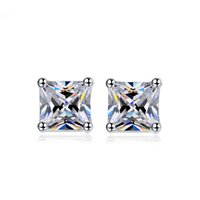 Wholesale 6mm stud earrings ear for sale - Group buy New Arrival Sterling Silver Filled Stud Earrings With mm Square Cubic Zirconia Ear Brincos For Women s Gift E031