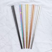 pauzinhos de aço inoxidável de alta qualidade venda por atacado-Glossy Titanium Banhado A Ouro de Alta qualidade Chopsticks, Chopsticks de Aço Inoxidável Colorido, Boa Qualidade Gold Rainbow Quadrado Chopsticks li4276