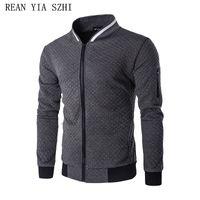 Wholesale Gray Varsity Jacket - Hot 2017 New Trend White Fashion Men Jacket Men Veste Homme Bomber Fit Argyle Zipper Varsity Jacket Casual For Fall
