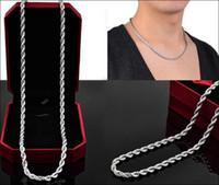 4mm 925 halskette großhandel-Neueste Ankunft 925 Sterling Silber Männer Und Frauen Silber Halskette Twisted Rope Chain 4mm 16-24