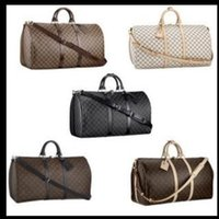 Wholesale casual luggage - AA+55CM large capacity women travel bags famous classical designer 2018 sale high quality men shoulder duffel bags carry on luggage keepall