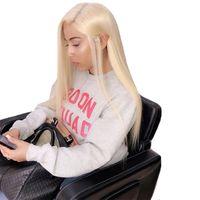bonés de renda completos para perucas venda por atacado-Top Quality Loira Perucas Cheias Do Laço com Combs # 613 Cabelo Humano Lace Wigs Cabelo Humano Virgem Rendas Transparente Médio Cap