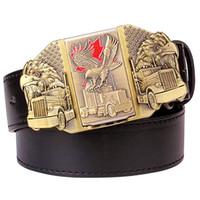 hebillas de cinturón encendedores al por mayor-Cinturón de encendedor de cigarrillos de estilo ruso cinturón de los hombres más ligero hebilla de metal encendedores Golden Eagle Kerosene cinturón más ligero para los hombres regalo