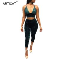 6cd695ec004a Articat Sexy Two Pieces Velvet Women Jumpsuit Rompers Lace Patchwork Crop  Top Calf-Length Pants Casual Skinny Bodycon Overalls