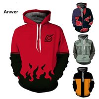 Wholesale anime jackets - Naruto 3D Hoodies Anime Boruto Akatsuki Jacket Coat Uchiha Itach Kakashi Cosplay Costumes Men Sweatshirt PULLOVER 5XL