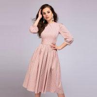 ingrosso lunghe gonne estive rosa per le donne-2018 Euramerica Women Fashion Style Estate Pink Point Dot stampa abito Slim girocollo gonna lunga abiti pieghettato donne