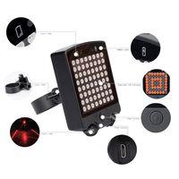 luces direccionales de advertencia al por mayor-64 LED Laser Bicycle Rear Tail Light Bike Señales de giro Advertencia de seguridad USB Recharge Lights con control remoto inalámbrico ASD88