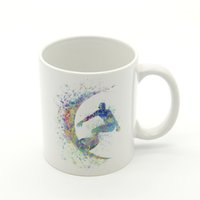 Wholesale colorful watercolor - Nordic Watercolor Sports Surfing Abstract Players Figure Colorful Kitchen Ceramic Water Cups Creative Gifts Coffee Tea Beer Mugs