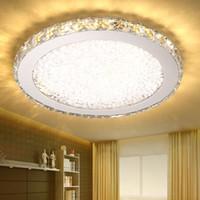 ingrosso la luce moderna ha condotto le luci di cristallo-L'acciaio inossidabile di modo moderno ha condotto le plafoniere di cristallo del k9 dispositivo domestico creativo deco del ristorante che oscilla la lampada del soffitto rotonda