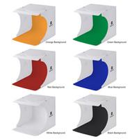kit dslr al por mayor-Mini caja de luz plegable Fotografía de estudio fotográfico Softbox 2 paneles Luz LED Caja suave Caja de fondo para fotos Caja de luz para cámara réflex digital DHL gratis