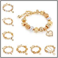 Wholesale gold chain bead bracelet online - 21styles Golden Charm Strands Chains for European Glas Alloy Beads cm Bangle Bracelets DIY Jewelry Beaded Links