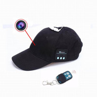 Wholesale video webcam online - New HD P Cap Camera Remote Contral Mini Camera Bluetooth Headset Music Play Video Recorder PC Webcam Out Door Sport Camera
