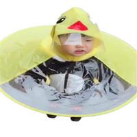 Wholesale raincoat rain hat - 2018 innovative design rain hat cloak a raincoat baby hats raincoat transparent yellow duck casaco infantil menina