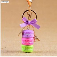Wholesale macarons keychain for sale - Group buy New Cake Key chain fashion car Key Ring Women bag charm accessories France Cake Macarons with Eiffel Tower Keychain gift Jewelry