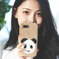 Wholesale gold rabbit iphone online - Fashion Luxury Rabbit Hair cute panda Plush Fur Cell Phone Cases For iPhoneXs Max XR X OPPO R17 Winter Warm Soft Cover For Women OPP Bag