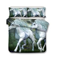 Wholesale Green King Size Quilt Sets - Two Unicorns 3D Pattern Printed Bedding Sets All Sizes Pillow Case Quilt Cover Duvet Cover No Filler